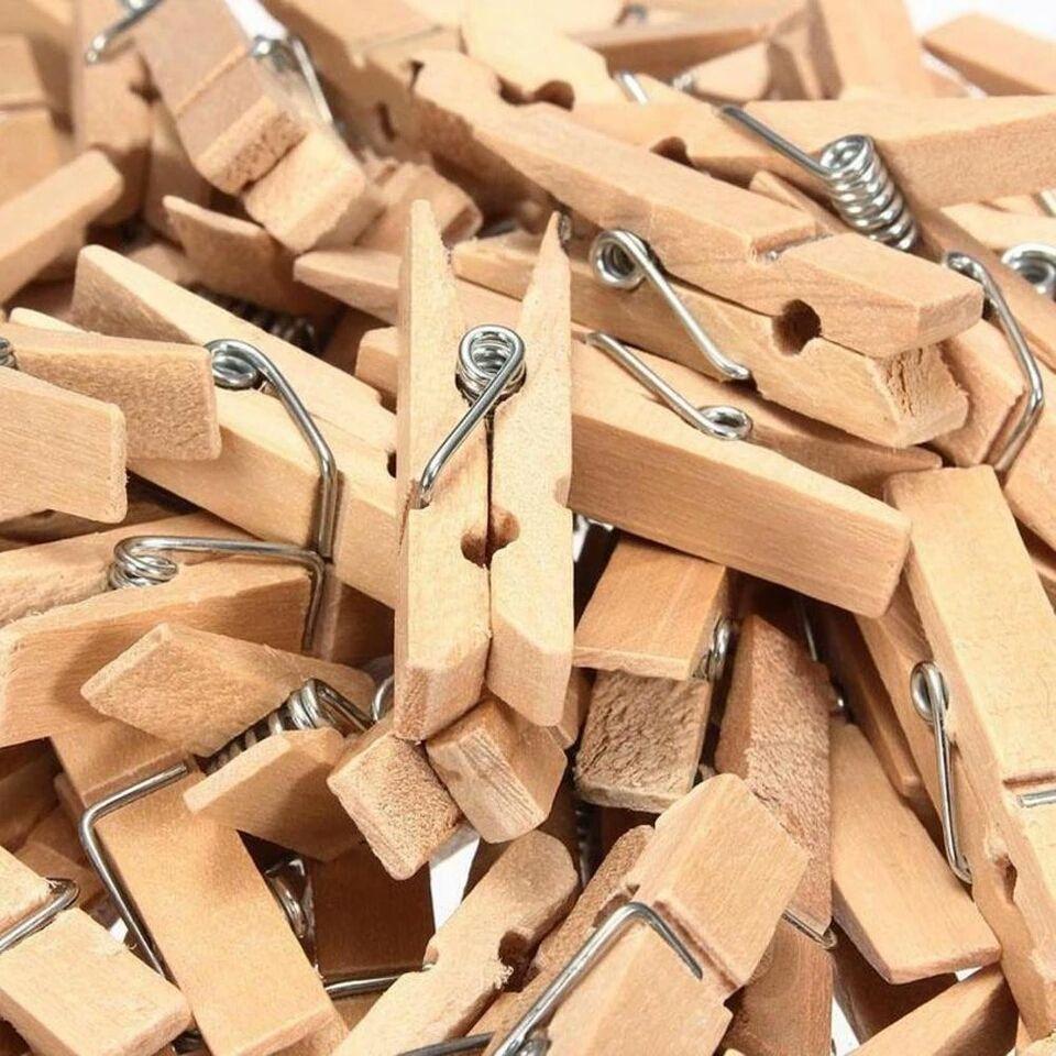 heldig - 20 pcs Wooden Clip Woodenclip / Penjepit Foto / Jepitan Foto Natural Kayu Polos Warna Coklat GRATIS 2 Meter Tali Rami / Tali Goni Bisa COD / Bayar di Tempat