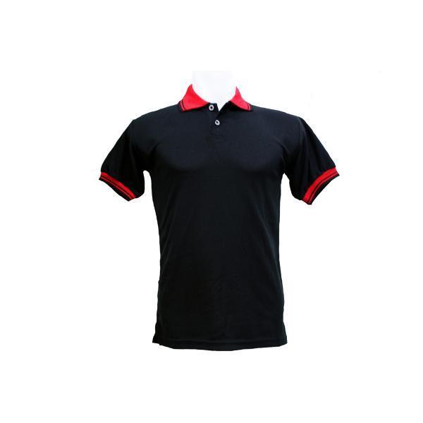 Polo Shirt Kaos Kerah Polos Baju Pria Cowok Bahan Lacos Lacoste Kaus Pendek Katun Hitam List Merah 7