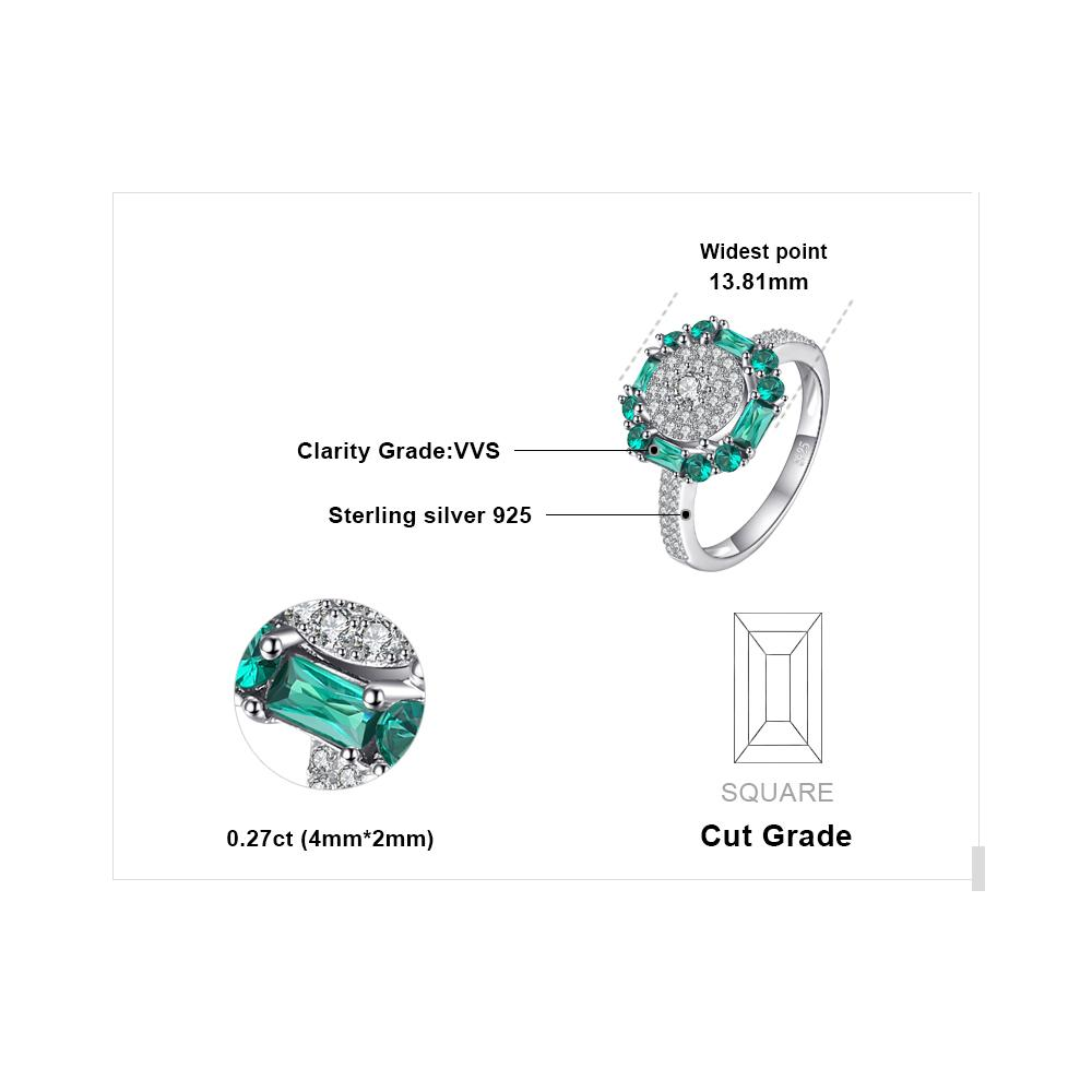 JewelryPalace 0.6ct Created Nano Russian Emerald Birthstone Ring 925 Sterling Silver