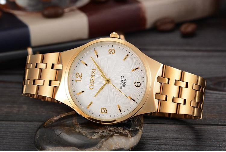 CHENXI Brand Fashion Classic Hot Golden Men Quartz Watches Stainless Steel Watch Male Casual Luxuriou Gift Clocks Man Wristwatch Birthday Gift Anniversary Gift Malaysia