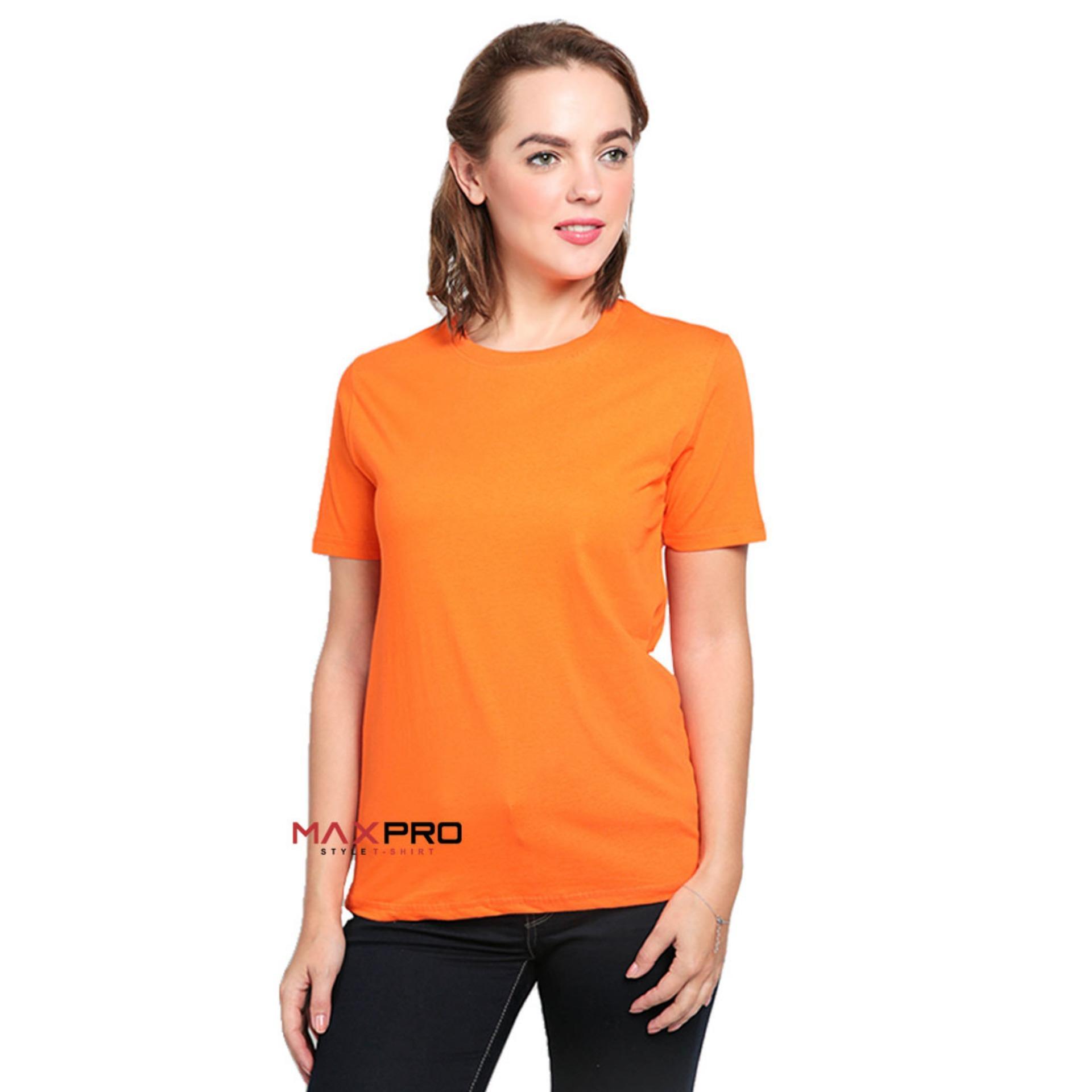 MaXPro Kaos Polos Wanita Orange - T-Shirt Distro Cewek Tumblr Tee / Kaos Oblong / Kaos Distro / Kaos Couple / Baju Kaos Atasan Wanita Oren