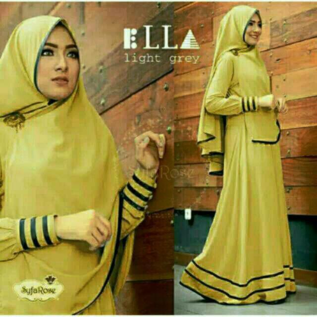M Fashion - gamis muslim ella / hijab muslim / maxi wanita / syari'i / muslimah / dress muslim / syari syfarose