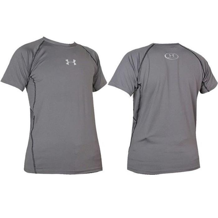 Kaos Under Armour HeatGear Lengan Pendek Abu - BDr6Kw