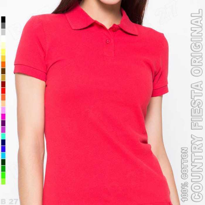 Best Seller!!! COUNTRY FIESTA Original P3-25 Kaos Polo Shirt Cewek Cotton Merah Cabe Keren Terbaru Murah