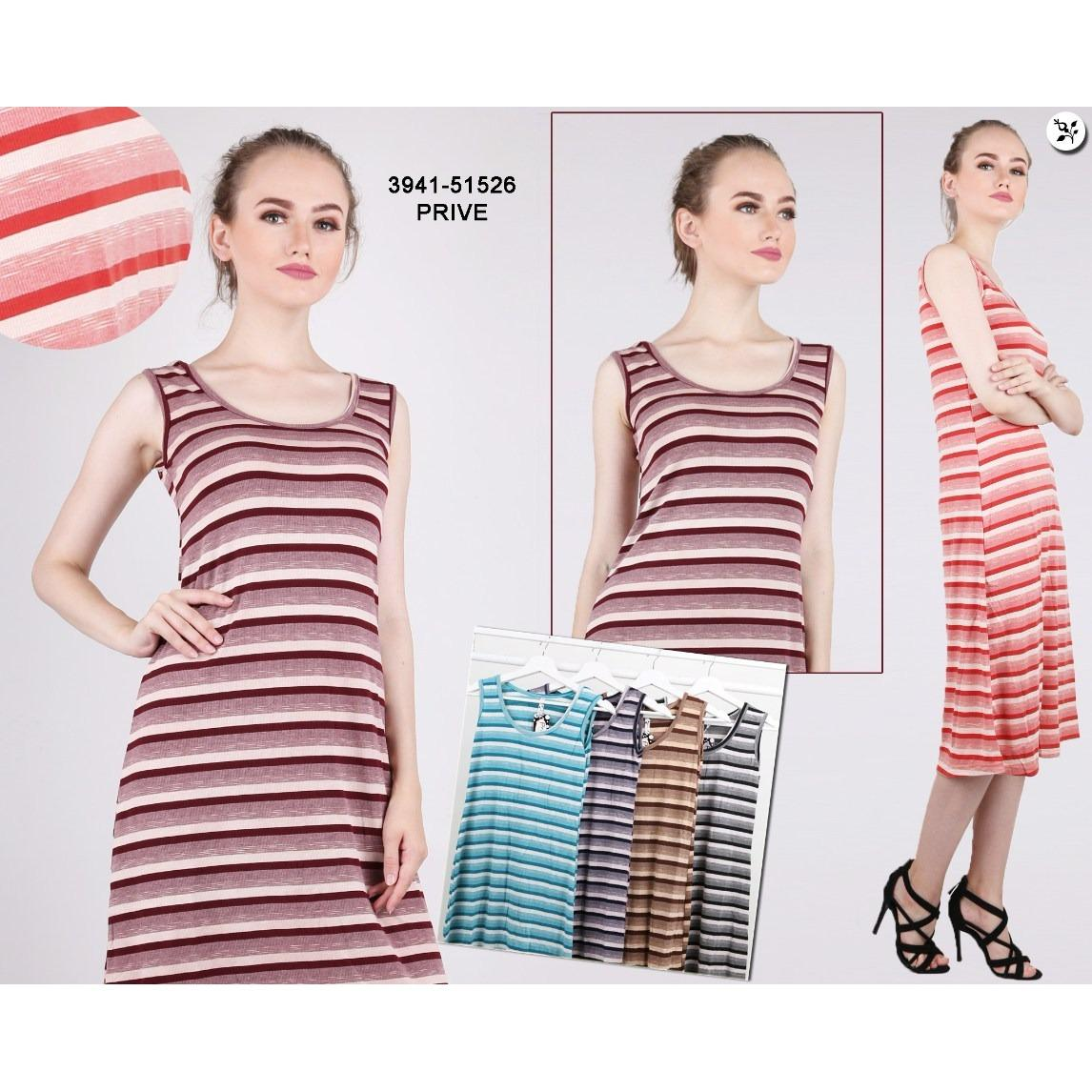 Oma Holley Fashion Tavisha Dress Midi Salur Tanpa Lengan - Size M