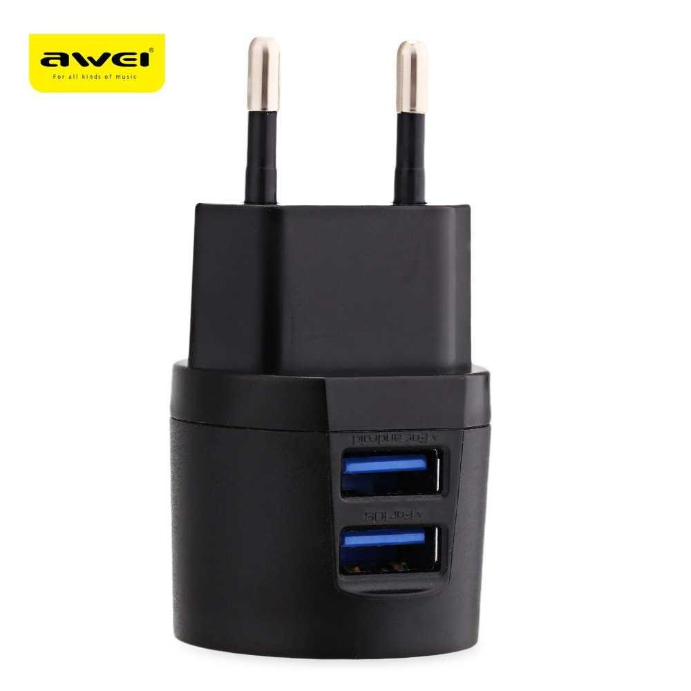 Best Seller!!! AWEI USB Travel Charger 2 Port 2.1A EU Plug - C-900 HP Termurah