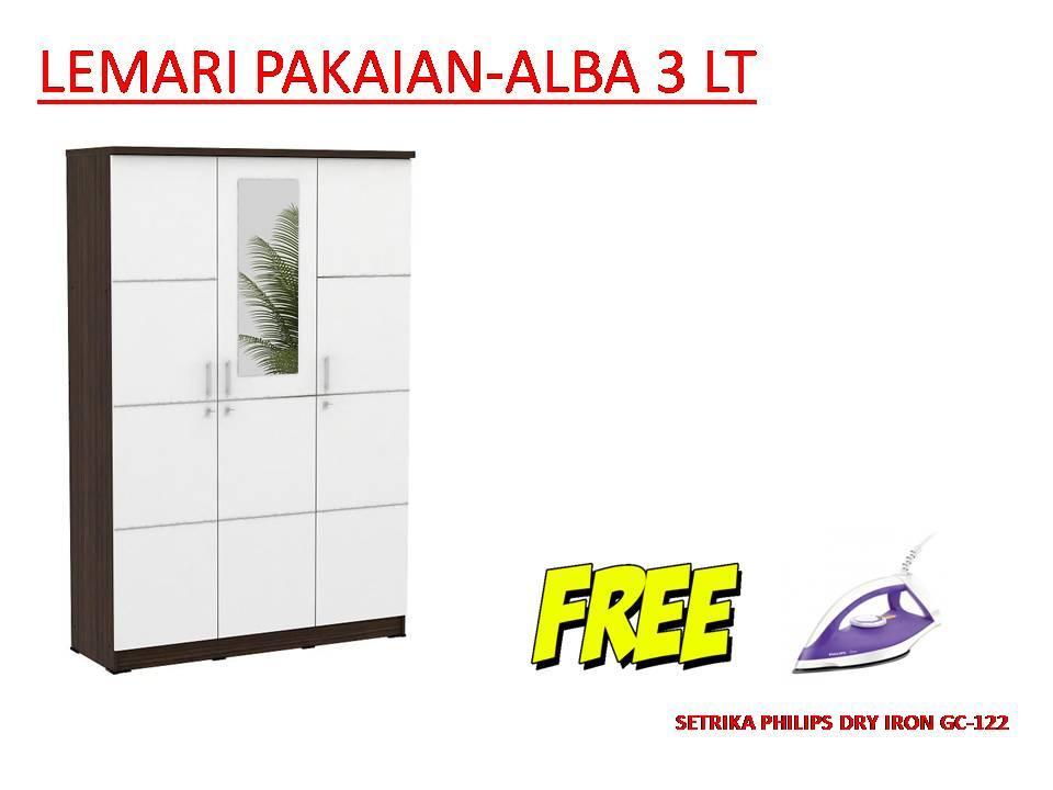 Metropolis Lemari pakaian ALBA 3LT-Putih FREE PHILIPS DRY IRON GC-122/37 UNGU Murah dan Bagus [Khusus JABODETABEK]