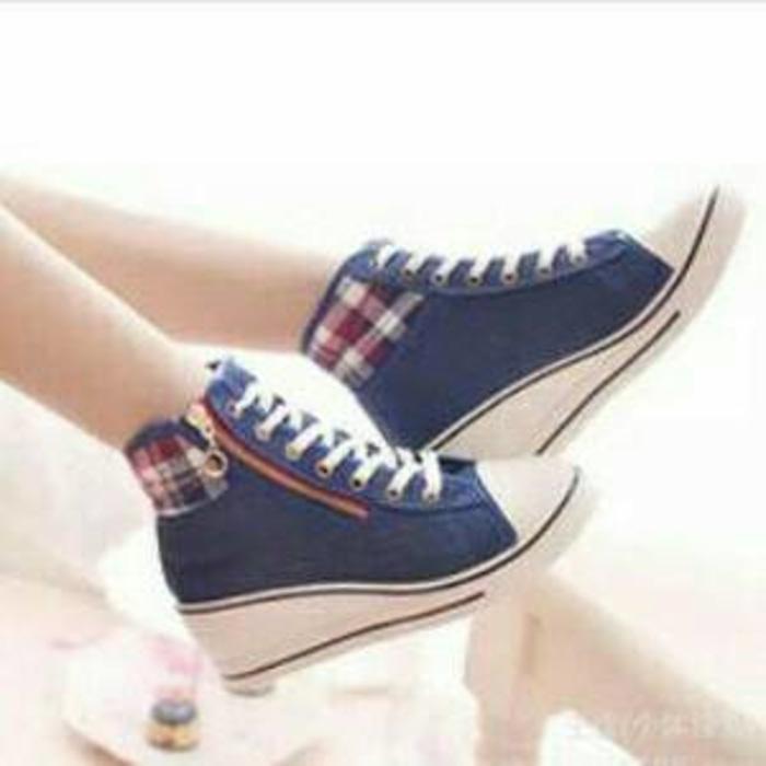 Sepatu Boots Wanita/Cewek Wedges Denim Blue Jual dg Harga Murah Murah Terbaru