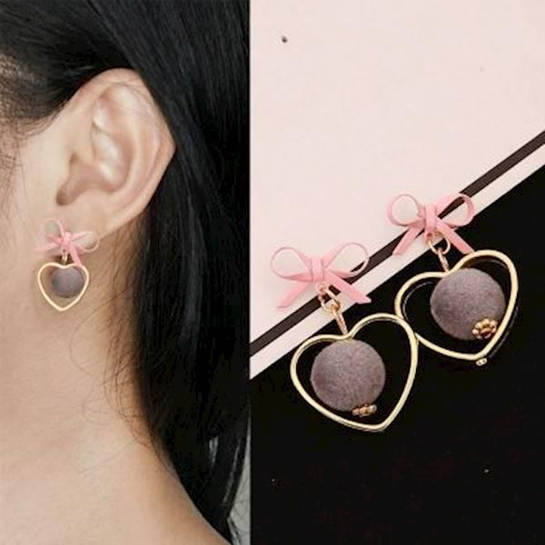 Anting Korea Anting Stud Lucu Aksesoris Fashion Import Wanita Mini Pompom Bowknot Earrings Murah