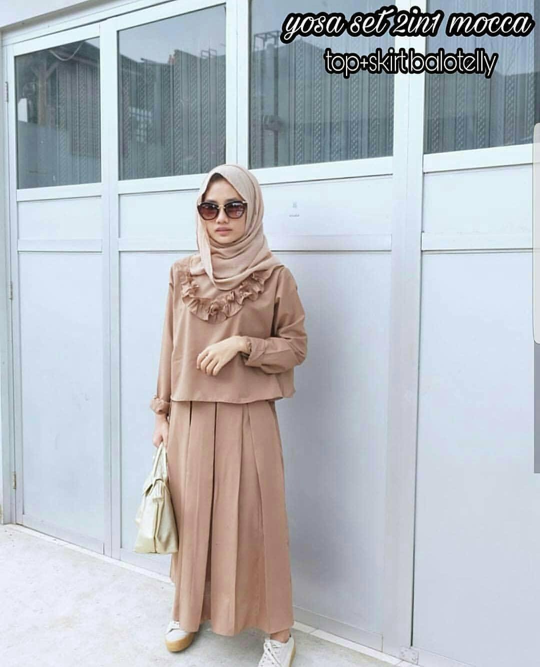 Baju Muslim Original Setelan Yosa Set 2in1 Baju Wanita Hijab Trendy Celana + Baju Atasan Modern Modis Casual Trendy Terbaru