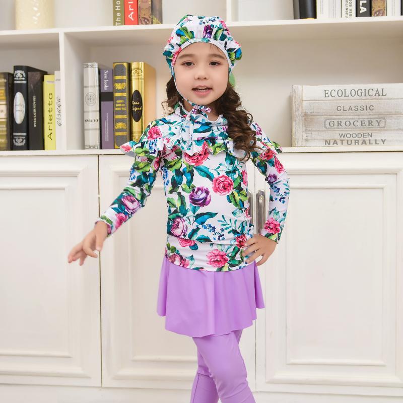 Baju Renang Anak Anak Perempuan Java ME Lengan Panjang (H102 Ungu Rok)