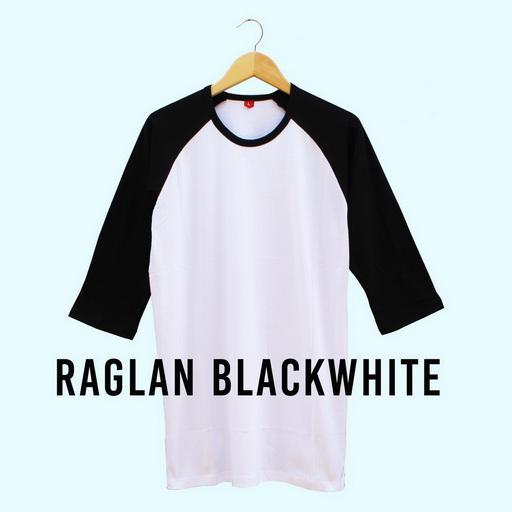 Baju Kaos Polos Raglan BLACK WHITE Lengan 3/4 Kaos Cewek Cowok Pria Wanita