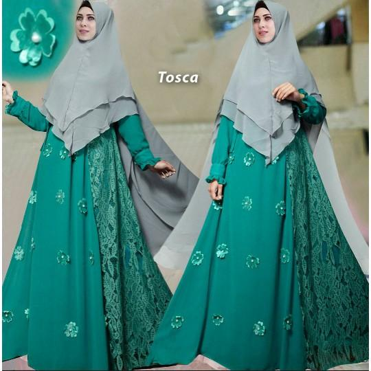 (JNH Shop)  Busana Muslim Syari Violet Tosca Gamis Baju Pesta Mewah Xl Murah TM