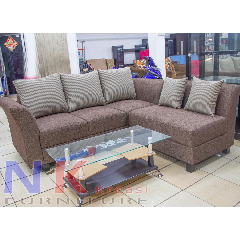 Sofa Kursi Ruang Tamu L Minimalis, sofa sudut + MEJA TAMU - JABODETABEK ONLY