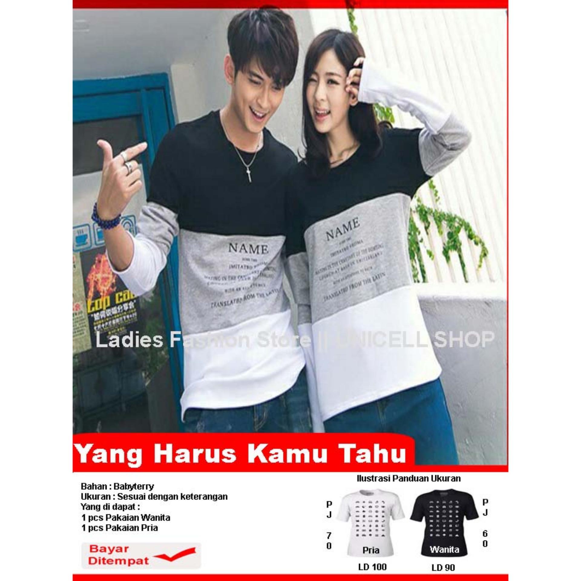Baju Wanita Shop Kaos Couple lengan Panjang  Name / Kaos Oblong  / Sweater Pasangan / T-shirt Pasangan / Pakaian Kembar / Kaos Pria Wanita LC - Abu Hitam - A0124