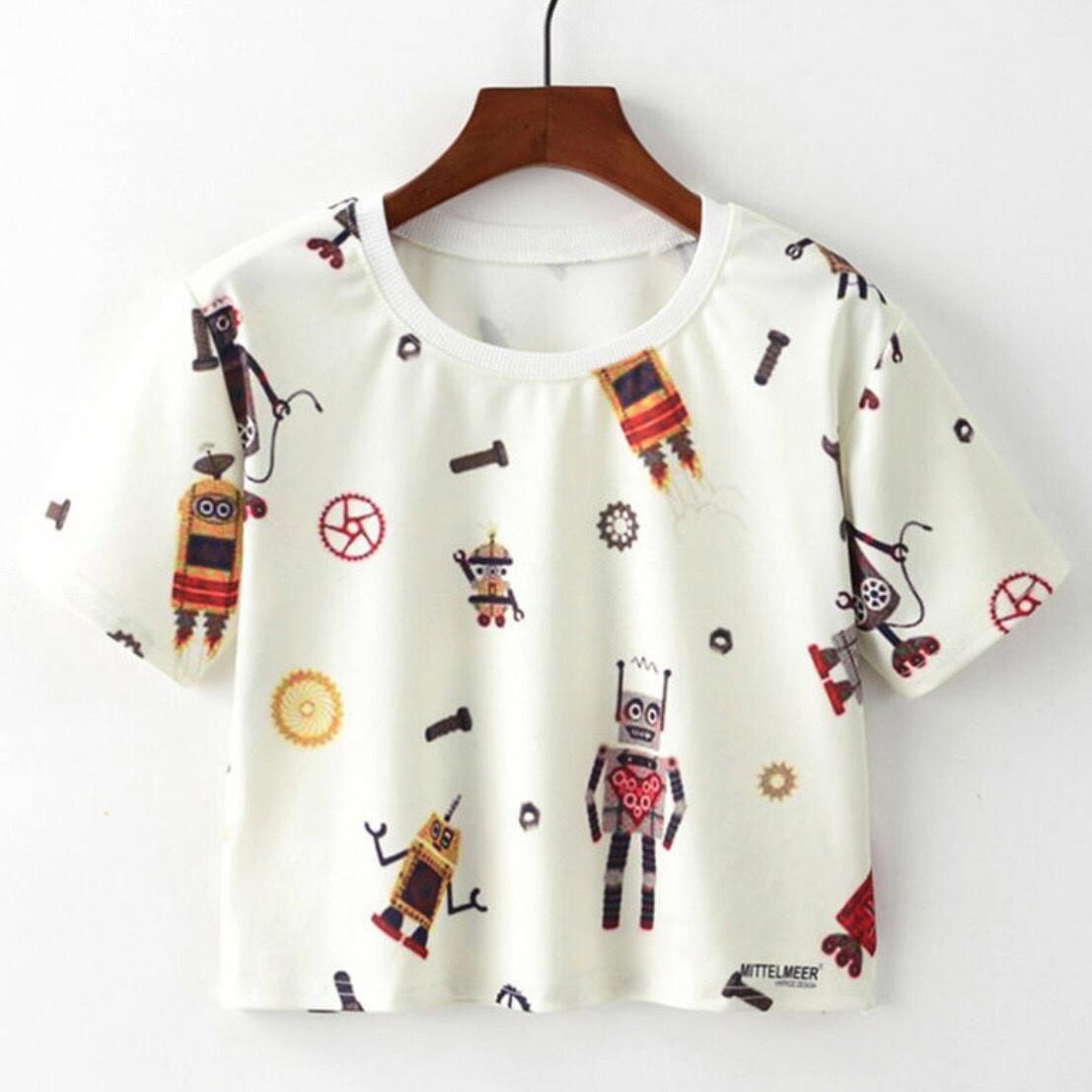 Hoziro - Baju Atasan Tshirt Kaos Crop Wanita Machine Tee Bahan Spandek