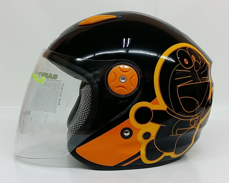 BMC Milan Doraemon Helm Half Face - Black Orange