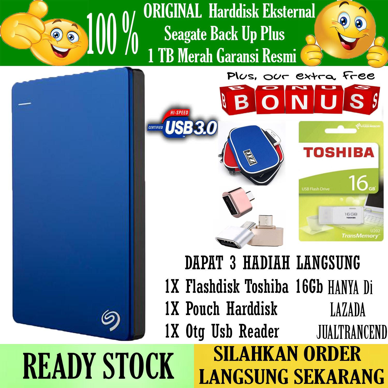 Seagate Backup Plus Slim 1TB - HDD - HD - Hardisk External 2.5 - Biru + Gratis Flasdisk 16Gb Toshiba Usb2.0 + Pouch Harddisk + Otg Mini Reader