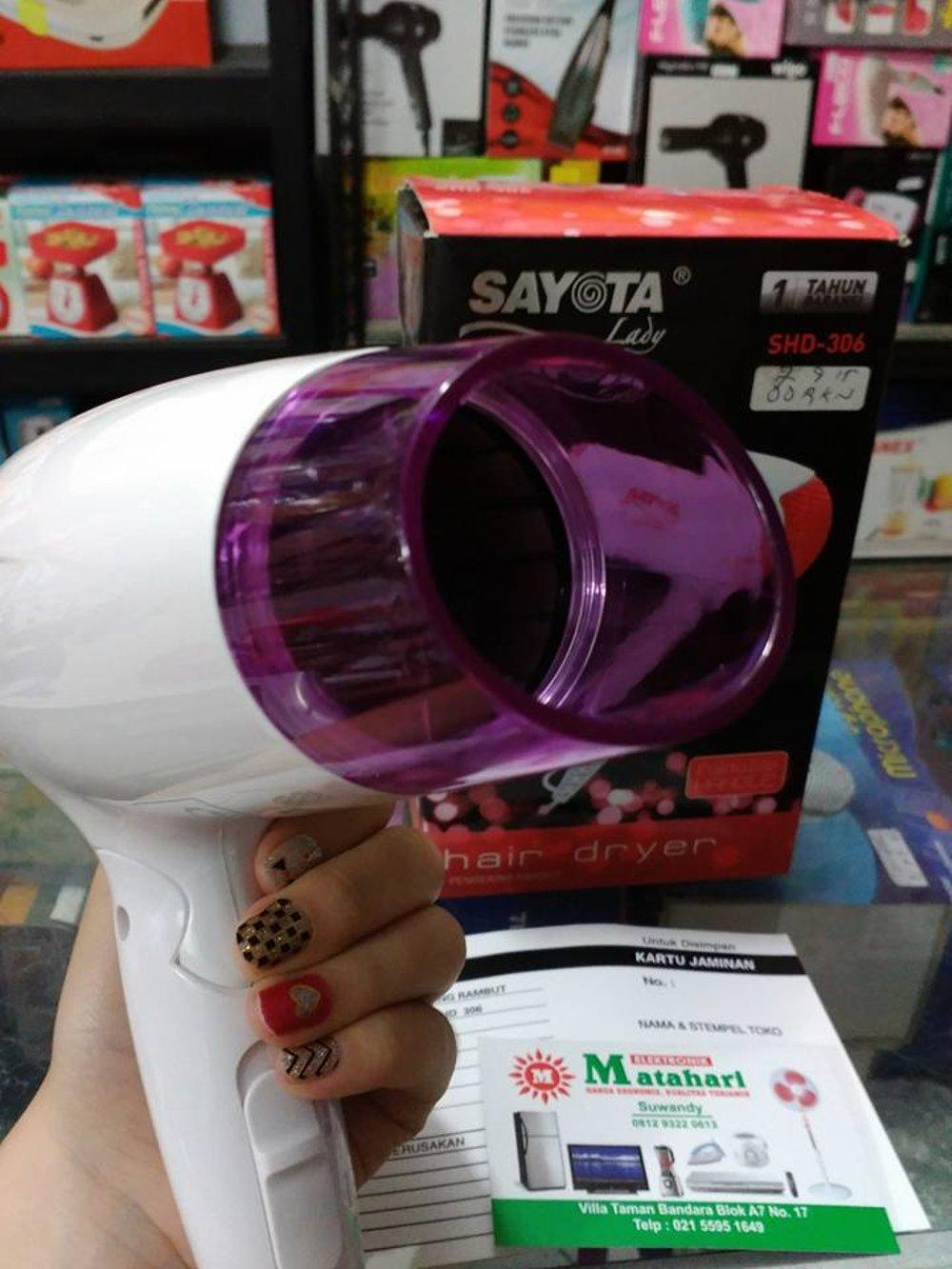 Hair Dryer Pengering rambut Sayota Lady SHD-306 (UNGU) Gagang Bisa Dilipat