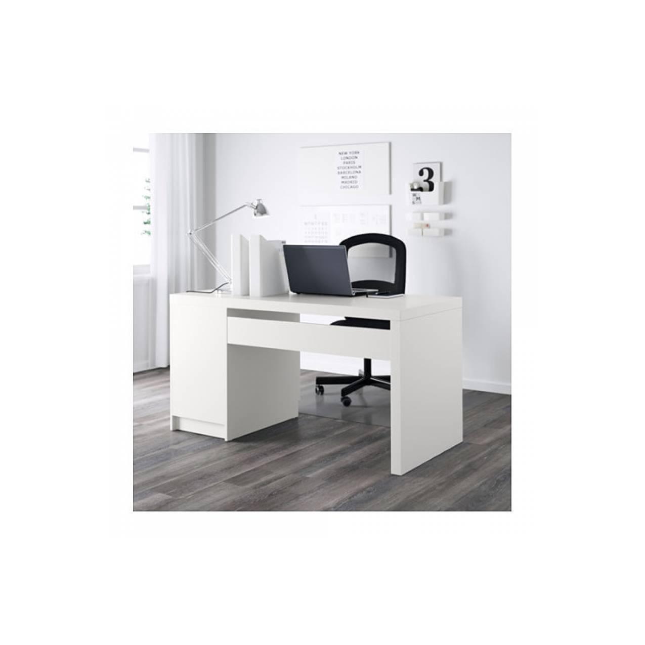 IKEA MALM Meja kerja / kantor / komputer, putih, 140x65 cm