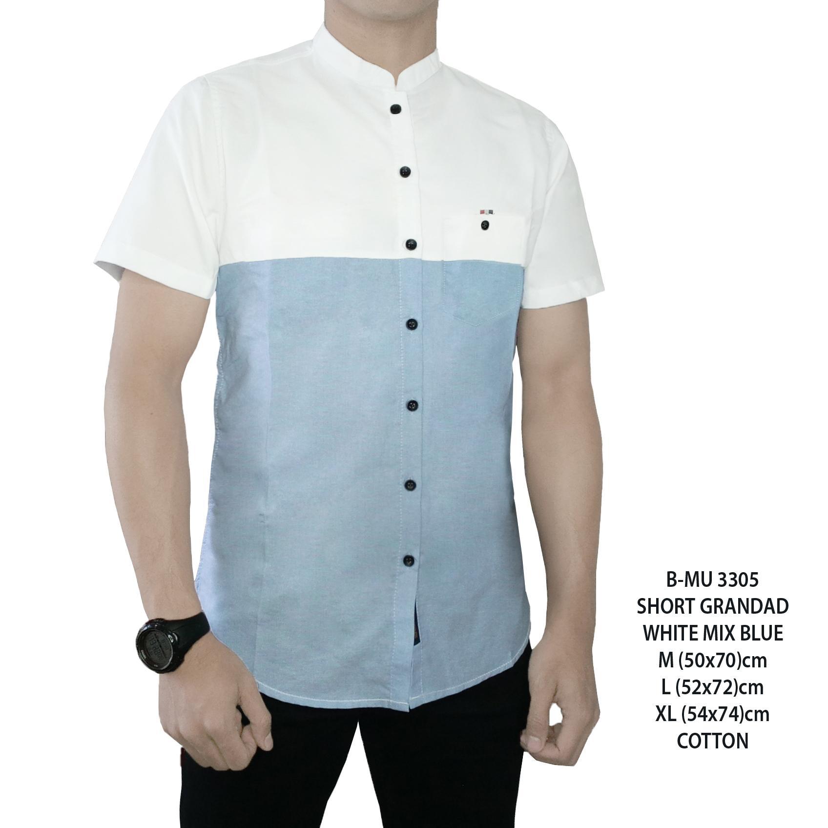 the most - Kemeja Pendek putih mix biru langit pria slimfit baju murah terlaris baju pantai atasan cowok santai adem distro bandung modis putih corak biru kemeja casual