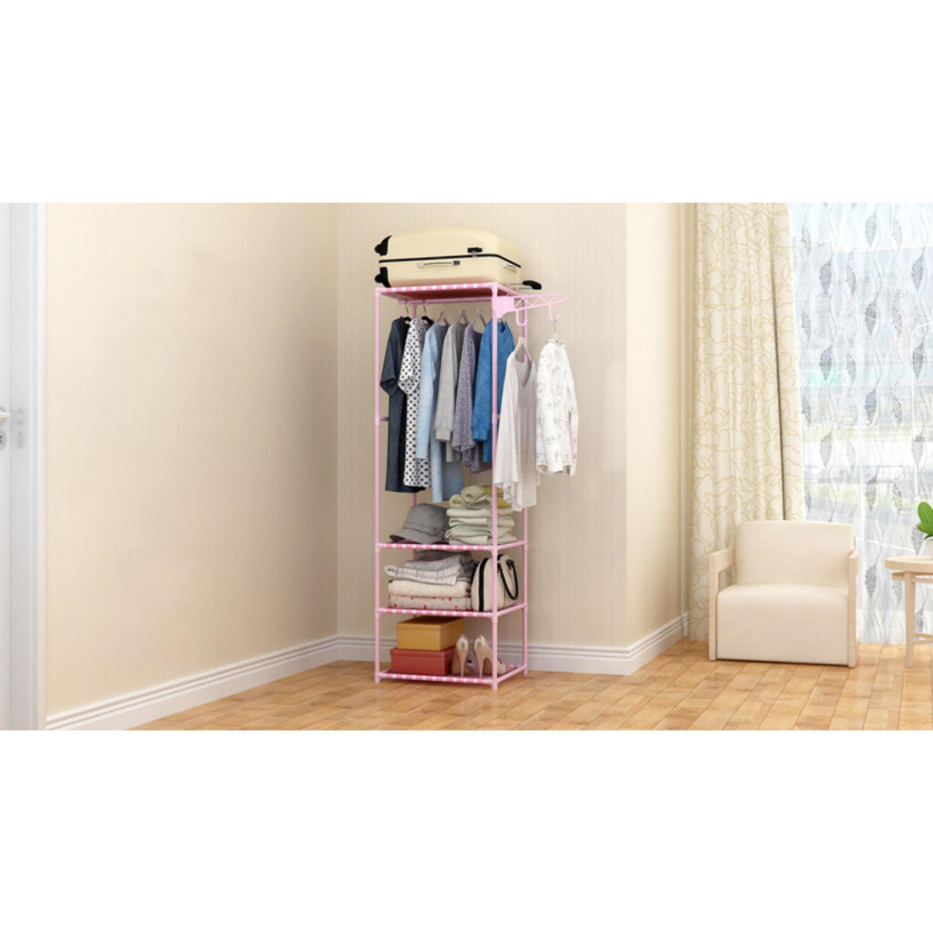 Almari Pakaian Furniture Lemari Baju Lemari Baju Anak Minimalis Lemari Pakaian Anak Murah Almari Tanpa Penutup MHX18 Pink Polka