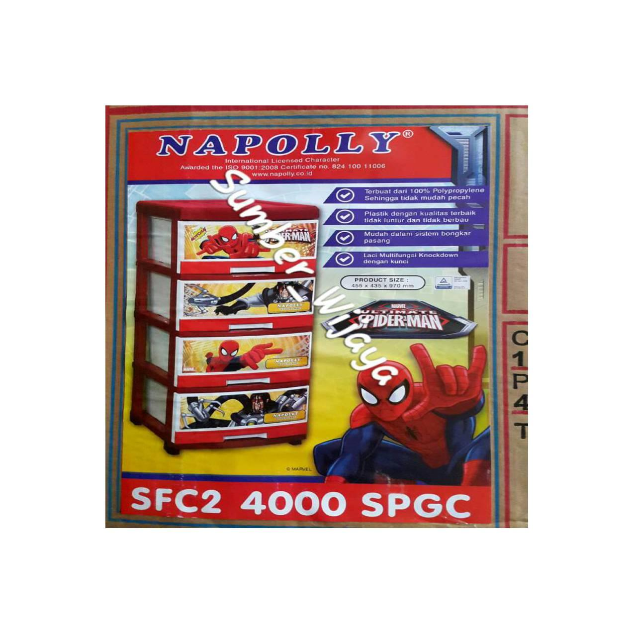 Lemari Laci Plastik Napolly Susun 4 - Spiderman SFC2 4000 SPGC