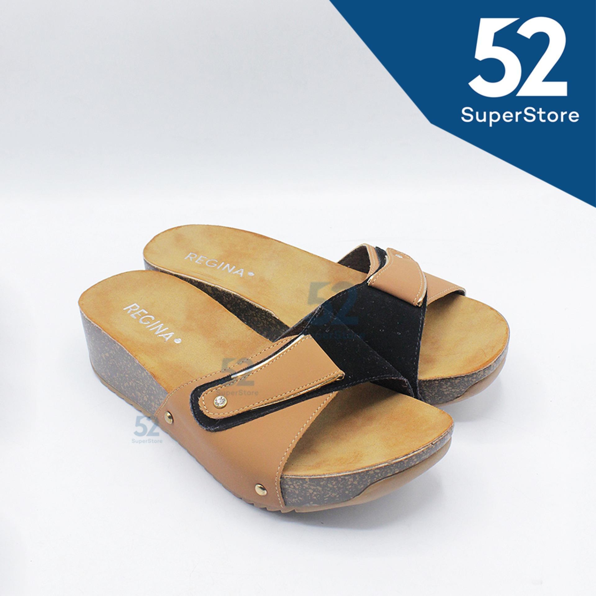 Regina Sandal Wedges Wanita 1704-002 - Black/Camel Size 36-40 HAK 5 cm