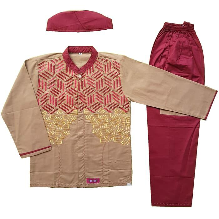 New Baju Muslim Koko Anak Laki-laki Stelan Setelan Set Peci AN 2-3 Promo