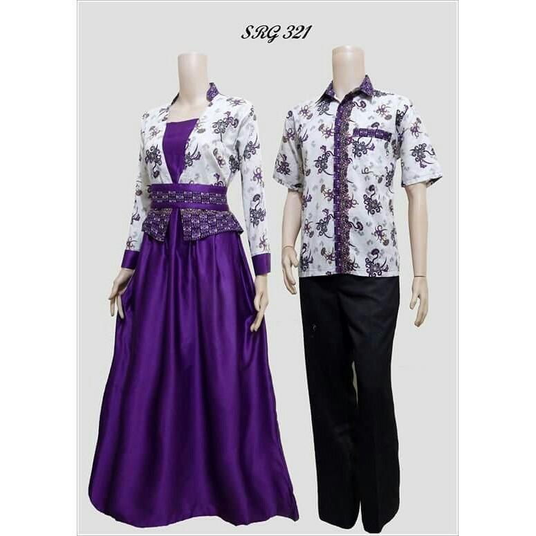 TERMURAH - Batik Couple Modern / Couple Batik / Batik Sarimbit / Baju Batik Kondangan / Baju Batik SRG 321 Ungu
