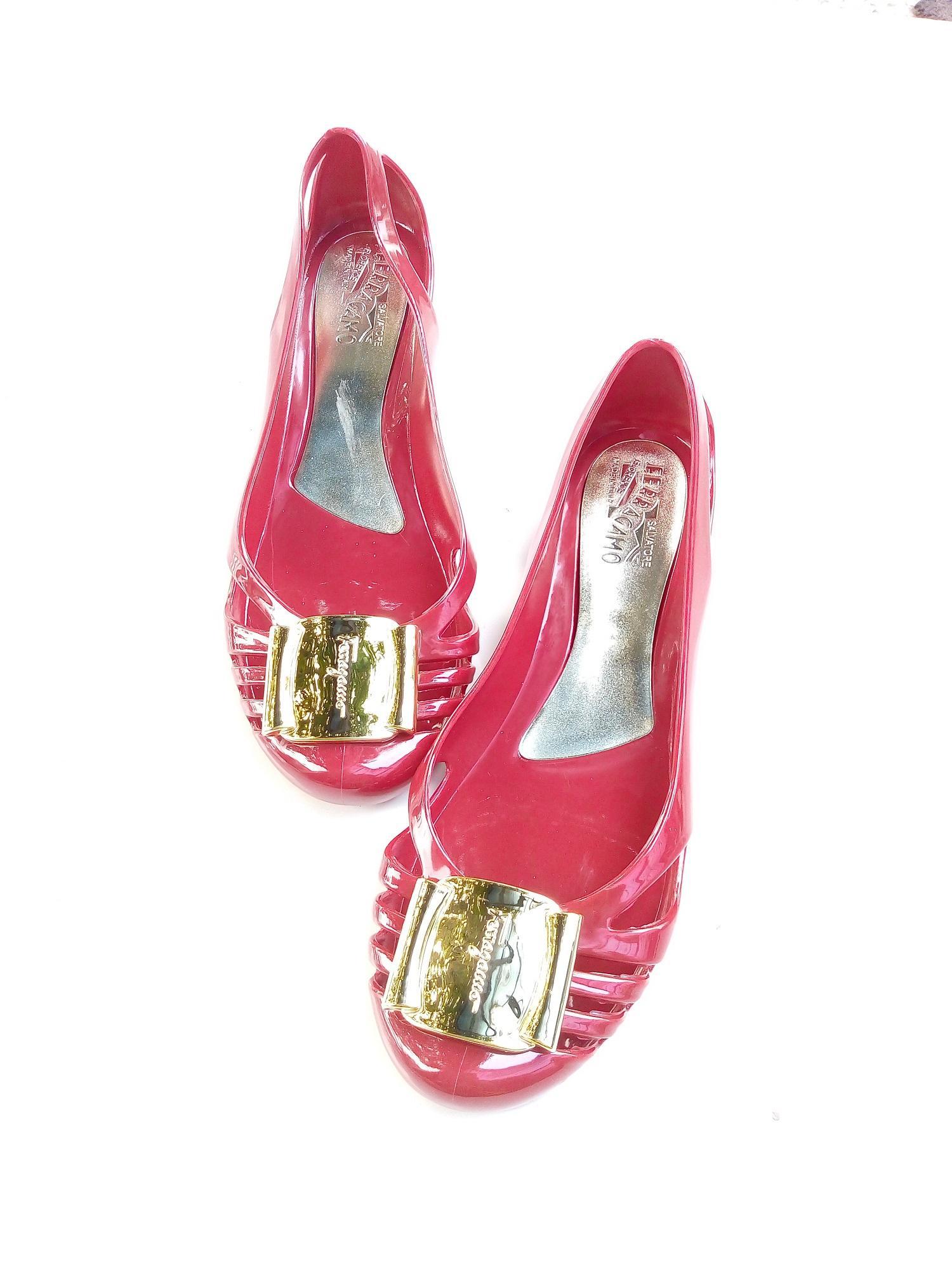 Myanka Jelly Shoes Flat Ferrag Standar - Merah -