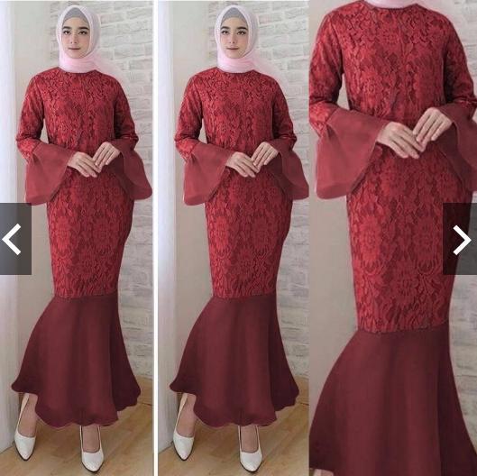 IndonesiaHeritage Gamis Pesta Brukat mix Rubiah Duyung Gamis Kebaya Pesta Brokat Modern Wisuda Remaja Fashion Gaun Pesta Party Maxi Long Dress Kondangan Muslimah Muslim  Batik Pesta Wanita brukat duyung rubiah Hijaber terbaru kekinian trendy ihduyung