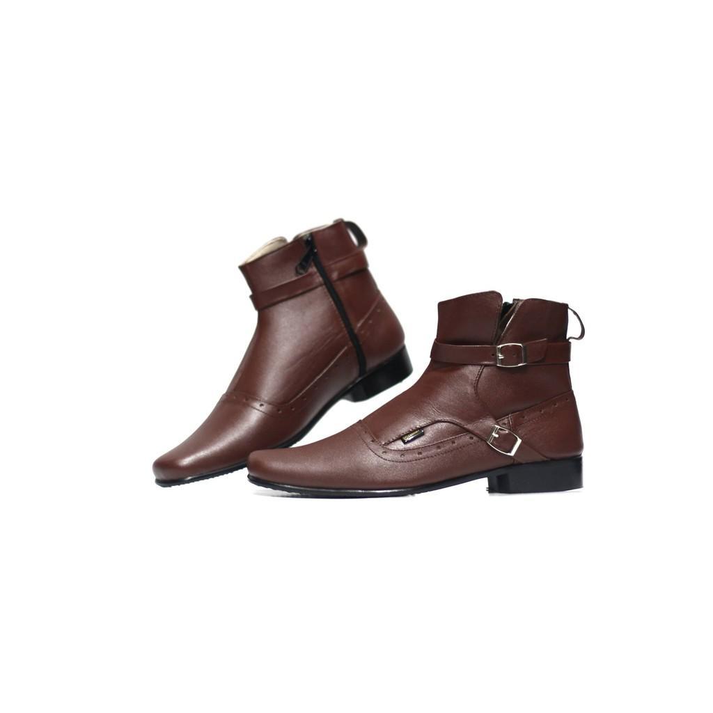 Sepatu Kulit Asli Semi Boots Formal Cevany Man Pantofel Pria Murah Brodo Casual Sneakers Kickers Tan