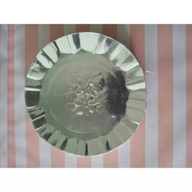 Piring Kertas Bulat Silver Flower