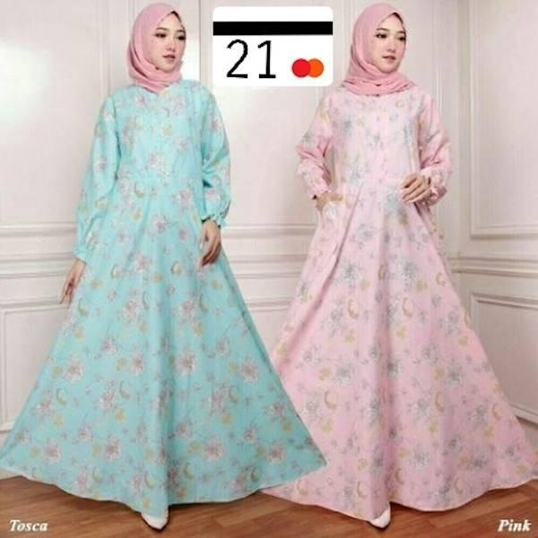 Maxy Cantik Elma Series Dress Payung Maxi Bunga Abstrak Simpel  Gamis