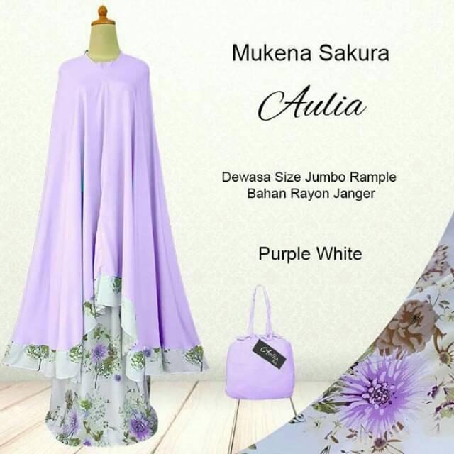 Mukena dewasa motif bunga sakura bahan rayon janger adem lembut dan nyaman di pakai