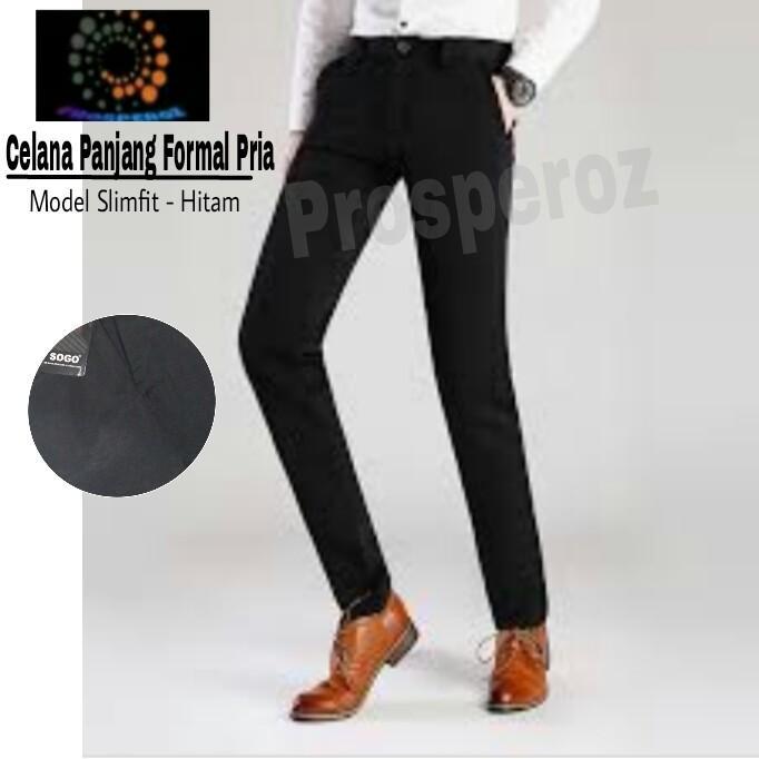 Prosperoz  - Celana Kerja Kantor - Bahan Kain - Celana Panjang Pria - Bahan Wolly Polyester - Hitam - Sogo