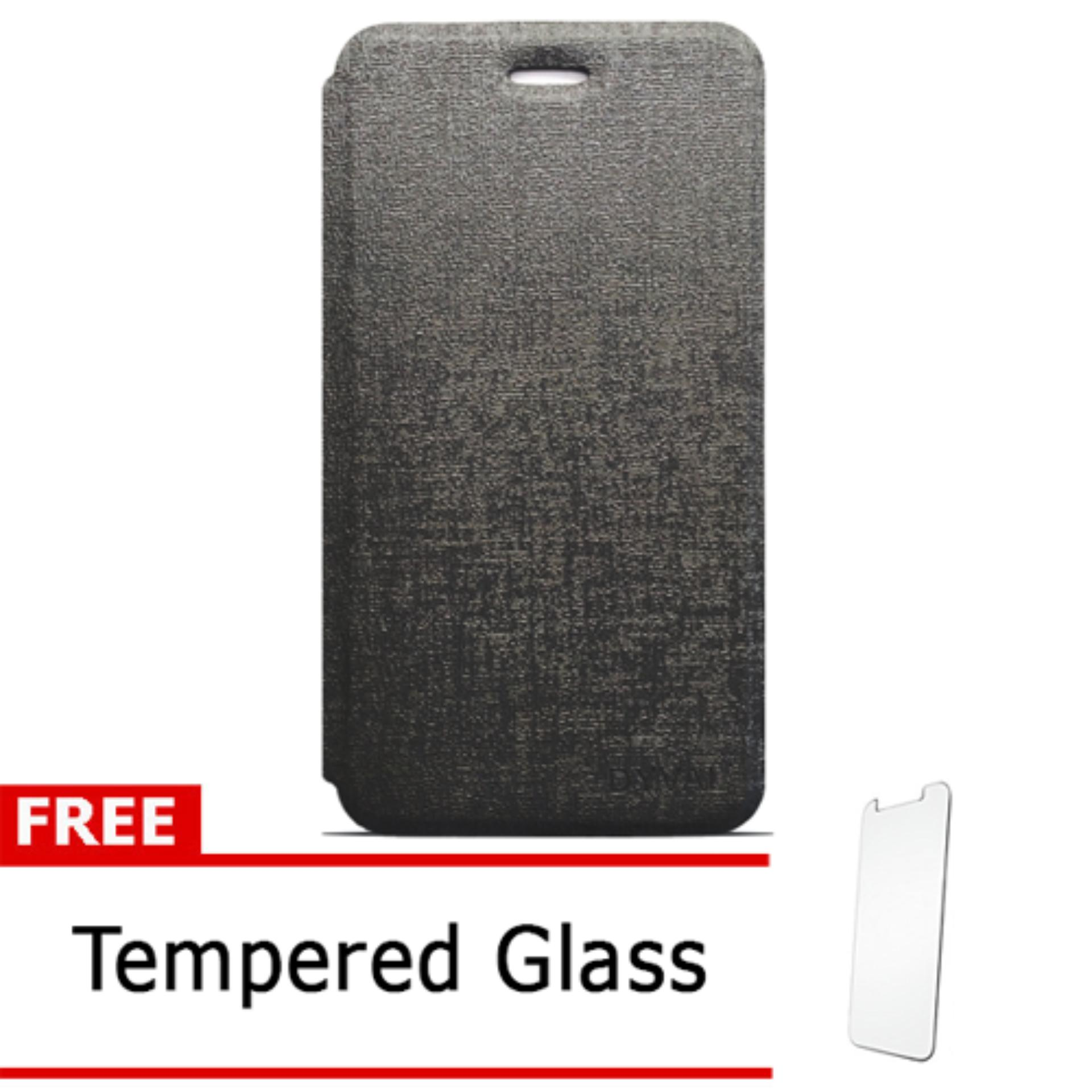 Case Dyval Flipcover Advan vandroid  i5C plus hitam + free tempered glass