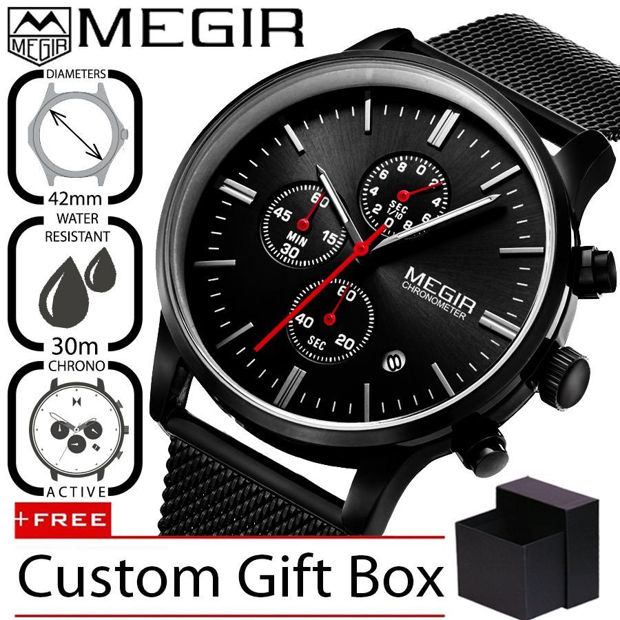 Megir 2011 Jam Tangan Pria Profesional Business Analog Stainless Steel Mesh 42 mm - Anti Air 30 M - Active Chronograph Watches - Hitam