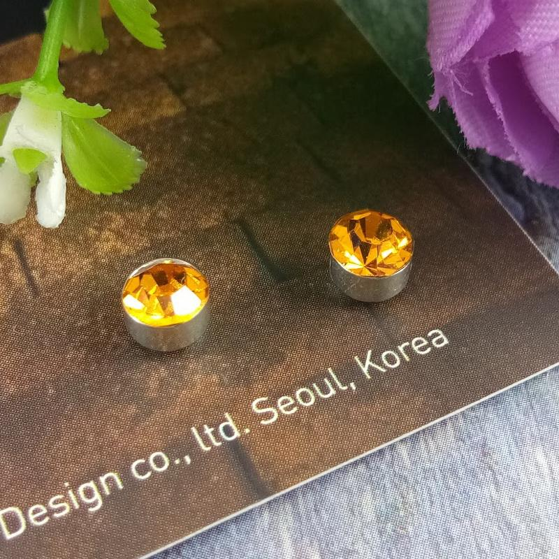 Anneui - Anting magnet kristal tanpa tindik swag kpop korea - Ukuran 5 mm