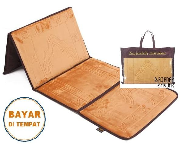 (EMAS) 1 Sajadah Sandar Surabaya 100% Premium Quality Sajadah Lipat Portable Beludru