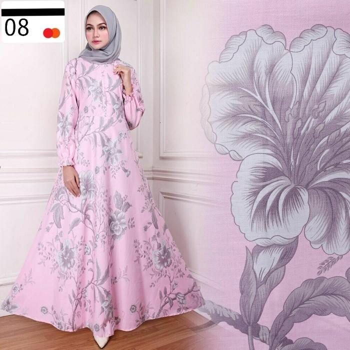(JNH Shop)  Maxy Cantik Elma Series 1 Dress Payung Maxi Bunga Abstrak Simpel Gamis