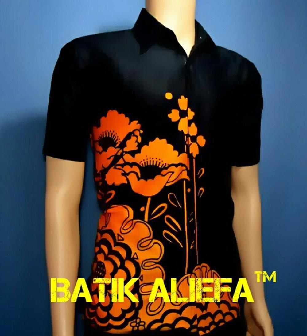 Kemeja Hem Baju Batik Pria Bunga Hitam Kuning Trand Fashion Pekalongan Indonesia Terbaru di lapak Batik Aliefa Pekalongan aliefa99