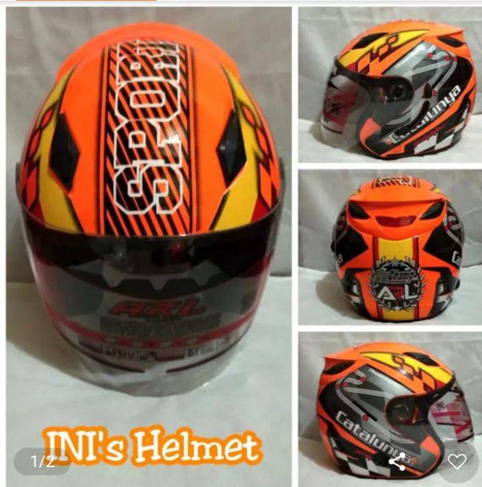 Helm Double Visor (2 Kaca) ARL Motif Orange - Helm SNI