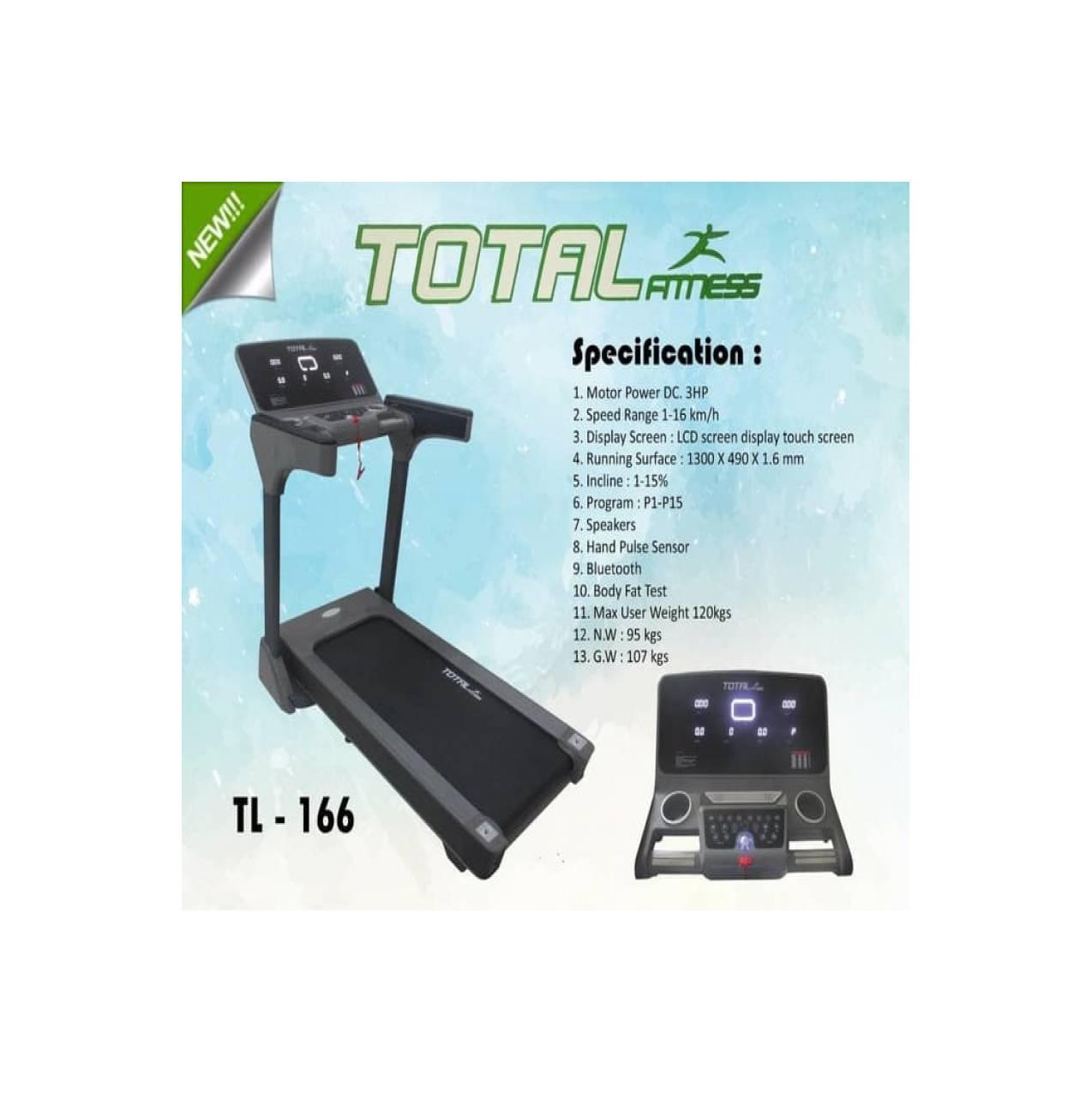 Treadmill ELEKTRIK MEWAH TL-166 BLUETOOTH 3 HP ( Speaker + hand Pulse)