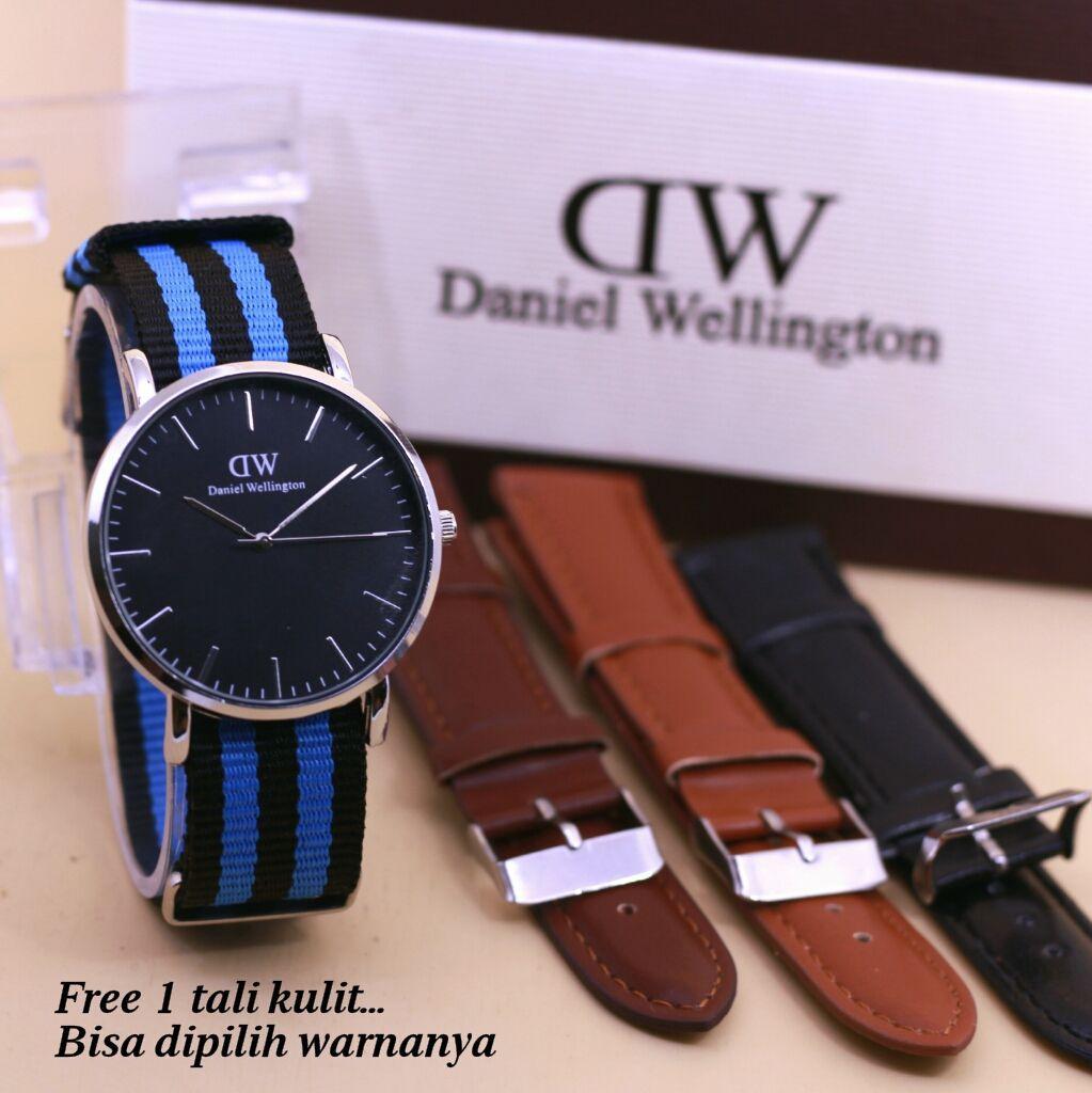 Jam tangan fashion wanita dw silver set+Tali dan box