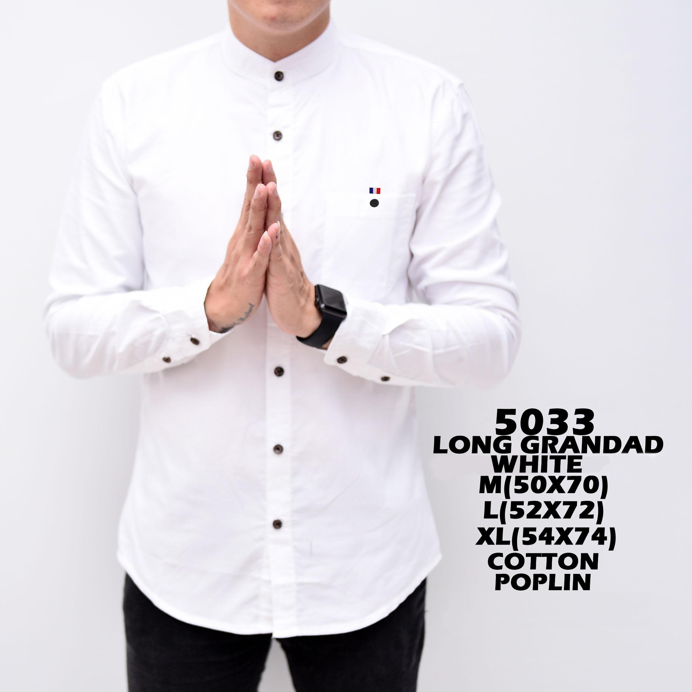 Baju Hem Kemeja Pria Cowok Lengan Panjang Kerah Shanghay Slimfit White Simple Putih Polos Distro Grosir Murah