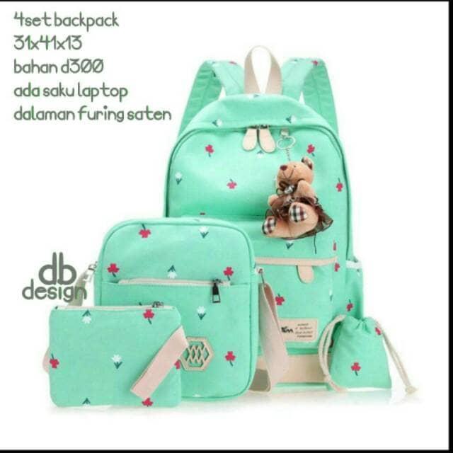 Jual Tas Ransel Backpack Sekolah Anak SD Laki Perempuan set 4in1 Murah Tosk - Turquoise Promo
