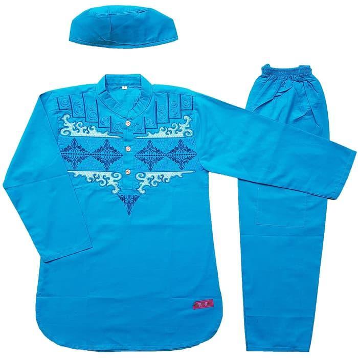 Baju Muslim Koko Anak Laki Laki Stelan Setelan Set Peci AS2 4