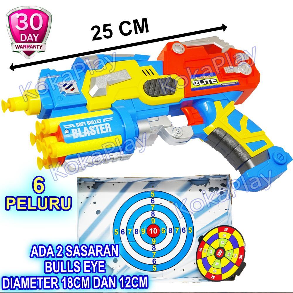 KokaPlay Super Blaster Nerf Gun Pistol Peluru Kokang Tanpa Baterai Soft Bullet Mainan Anak Laki Laki